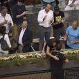 Amélie Mauresmo, enceinte dans les bras d'Andy Murray après sa victoire sur Rafael Nadal lors de la finale du Masters de Madrid le 10 mai 2015