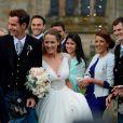 Andy Murray et son épouse Kim Sears à la sortie de la cathédrale de Dunblane le 11 avril 2015