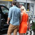 Former 'Beverly Hills, 90210' star Jennie Garth was spotted out and about in the Big Apple with her younger fiancee David Abrams on Tuesday morning, looking lovely in a bright orange mini dress in New York City, NY, USA on May 05, 2015. The blonde beauty seems to be doing just fine since her split from actor Peter Facinelli, as it appears both parties have moved on to younger, hotter partners. Photo by GSI/ABACAPRESS.COM06/05/2015 - New York City