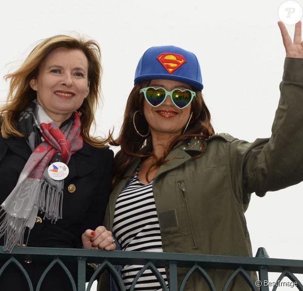 """Valérie Trierweiler et Lââm - Lancement de la campagne """"Vacances d'été 2015"""" du Secours Populaire à Disneyland Paris. Le 16 mai 2015"""