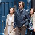 Jim Carrey se promène avec sa compagne Cathriona White dans les rues de New York, le 18 mai 2015