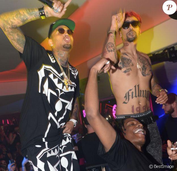 Chris Brown, Kid Red (cheveux rouges) et A$AP Rocky enflamment le VIP Room à Cannes. Le 21 mai 2015.