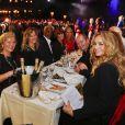 Exclusif - Fauve Hautot (présidente du jury), Satya Oblette, Adriana Karembeu (maîtresse de cérémonie) accompagnée de sa mère et sa soeur, et Philippe Doignon participent à la finale du concours de mannequinat  Top Model Belgium , qui se déroule au Lido à Paris, le 10 mai 2015.
