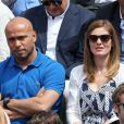 Eric Judor et sa compagne lors des Internationaux de France à Roland-Garros à Paris le 28 mai 2015 à Paris