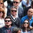 Muriel Mayette et Gérard Holtz, Eric Judor lors des Internationaux de France à Roland-Garros à Paris le 28 mai 2015 à Paris