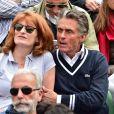 Gérard Holtz et sa femme Muriel Mayette lors des Internationaux de France à Roland-Garros à Paris le 28 mai 2015 à Paris