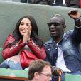 Mamadou Sakho et sa femme Majda, enceinte, à Roland-Garros à Paris le 31 mai 2015.