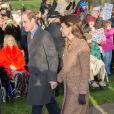 Kate Middleton et le prince William lors de la messe de Noël 2014 à Sandringham, en l'église St Mary Magdalene.