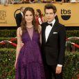 """Keira Knightley enceinte et son mari James Righton - 21e cérémonie des """"Screen Actors Guild Awards"""" à l'auditorium """"The Shrine"""" à Los Angeles, le 25 janvier 2015."""