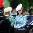 Kate Middleton, duchesse de Cambridge, pour sa première activité royale après la naissance de la princesse Charlotte, et Camilla Parker Bowles, duchesse de Cornouailles, le 13 juin 2015 à Londres lors de Trooping the Colour, la parade annuelle en l'honneur de l'anniversaire de la reine Elizabeth II.