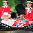 La reine Elizabeth II et le duc d'Edimbourg dans le landau Ascot le 13 juin 2015 à Londres lors de Trooping the Colour, la parade annuelle en l'honneur de l'anniversaire de la monarque.
