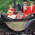 La reine Elizabeth II et le prince Philip, duc d'Edimbourg le 13 juin 2015 à Londres lors de Trooping the Colour, la parade annuelle en l'honneur de l'anniversaire de la souveraine.
