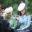 Catherine, duchesse de Cambridge, pour sa première activité royale après la naissance de la princesse Charlotte, et Camilla Parker Bowles, duchesse de Cornouailles, le 13 juin 2015 à Londres lors de Trooping the Colour, la parade annuelle en l'honneur de l'anniversaire de la reine Elizabeth II.