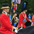 La princesse Anne, le prince William et le prince Charles le 13 juin 2015 à Londres lors de Trooping the Colour, la parade annuelle en l'honneur de l'anniversaire de la reine Elizabeth II.