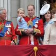 Camilla Parker Bowles, le prince Charles, le prince William, le prince George, Kate Middleton au balcon de Buckingham lors de Trooping the Colour le 13 juin 2015 à Londres, parade qui célèbre l'anniversaire officiel de la reine.
