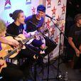 """Michael Clifford (guitare, choeur), Luke Hemmings (chanteur principal, guitare), Calum Hood (basse, chant), Ashton Irwin (batterie, choeur) - Le groupe pop rock australien """"5 Seconds Of Summer"""", formé à Sydney en 2011, chez Virgin Radio à Paris, le 26 juin 2014."""