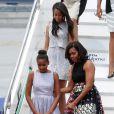 Michelle Obama et ses filles Sasha et Malia arrivent à Milan, le 17 juin 2015