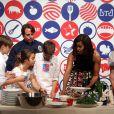 Michelle Obama et des étudiants au James Beard American Restaurant à Milan, le 17 juin 2015