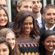 Michelle Obama au pavillon américain de l'epo universelle de Milan, le 18 juin 2015