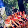 """Exclusif - Martial Tricoche du groupe """"Manau"""", dans les arènes de Nîmes à l'occasion de la spéciale Fête de la musique de l'émission La Chanson de l'année sur TF1, le samedi 20 juin 2015."""