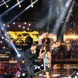 Exclusif - Emmanuel Moire et la chanteuse Zaz, dans les arènes de Nîmes à l'occasion de la spéciale Fête de la musique de l'émission  La Chanson de l'année  sur TF1, le samedi 20 juin 2015.