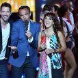 Exclusif - Emmanuel Moire, Nikos Aliagas et la chanteuse Zaz, dans les arènes de Nîmes à l'occasion de la spéciale Fête de la musique de l'émission  La Chanson de l'année  sur TF1, le samedi 20 juin 2015.