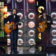Exclusif - Francis Cabrel et Thomas Dutronc, dans les arènes de Nîmes à l'occasion de la spéciale Fête de la musique de l'émission  La Chanson de l'année  sur TF1, présentée par Nikos Aliagas, le samedi 20 juin 2015.