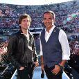 Exclusif - Thomas Dutronc et Nikos Aliagas, dans les arènes de Nîmes à l'occasion de la spéciale Fête de la musique de l'émission  La Chanson de l'année  sur TF1, le samedi 20 juin 2015.