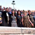 Exclusif - Florent Mothe, Zaho (Zahera Darabid), Fabien Incardona, Camille Lou et Charlie Boisseau, dans les arènes de Nîmes à l'occasion de la spéciale Fête de la musique de l'émission  La Chanson de l'année  sur TF1, le samedi 20 juin 2015.