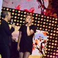 Exclusif - Le chanteur Calogero et Louane Emera, dans les arènes de Nîmes à l'occasion de la spéciale Fête de la musique de l'émission  La Chanson de l'année  sur TF1, le samedi 20 juin 2015.