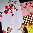 Exclusif - Le chanteur Calogero et Louane Emera, dans les arènes de Nîmes pendant les répétitions de la spéciale Fête de la musique de l'émission  La Chanson de l'année  sur TF1, le samedi 20 juin 2015.