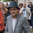 Jamel Debbouze quitte les studios de RTL à Paris le 23 juin 2015.
