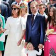 Pauline Ducruet, la princesse Caroline de Hanovre, Sacha Casiraghi, Andrea Casiraghi, Tatiana Santo Domingo Casiraghi, Elisabeth-Anne de Massy sur la place du palais princier à Monaco samedi 11 juillet 2015 lors des célébrations des 10 ans de règne du prince Albert II.