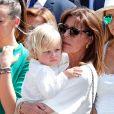 La princesse Caroline de Hanovre et son petit-fils Sacha Casiraghi sur la place du palais princier à Monaco samedi 11 juillet 2015 lors des célébrations des 10 ans de règne du prince Albert II.