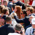 Andrea Casiraghi, son fils Sacha Casiraghi, Pierre Casiraghi et sa fiancée Beatrice Borromeo sur la place du palais princier à Monaco samedi 11 juillet 2015 lors des célébrations des 10 ans de règne du prince Albert II.