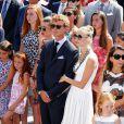 Charlotte Casiraghi, Pierre Casiraghi et sa fiancée Beatrice Borromeo sur la place du palais princier à Monaco samedi 11 juillet 2015 lors des célébrations des 10 ans de règne du prince Albert II.