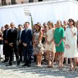 Louis Ducruet, la princesse Stéphanie de Monaco, Camille Gottlieb, Pauline Ducruet, la princesse Caroline de Hanovre, Sacha Casiraghi, Andrea Casiraghi, Tatiana Santo Domingo Casiraghi, Elisabeth-Anne de Massy - Premier jour des célébrations des 10 ans de règne du prince Albert II de Monaco à Monaco, le 11 juillet 2015. First Day of the 10th Anniversary on the Throne Celebrations in Monaco on July 11, 201511/07/2015 - Monte-Carlo