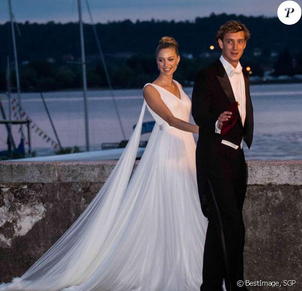 Pierre Casiraghi et sa femme Beatrice Borromeo (robe Armani Privé) à leur soirée de mariage au château Rocca Angera (château appartenant à la famille Borromeo) à Angera sur les Iles Borromées, sur le Lac Majeur, le 1er août 2015.