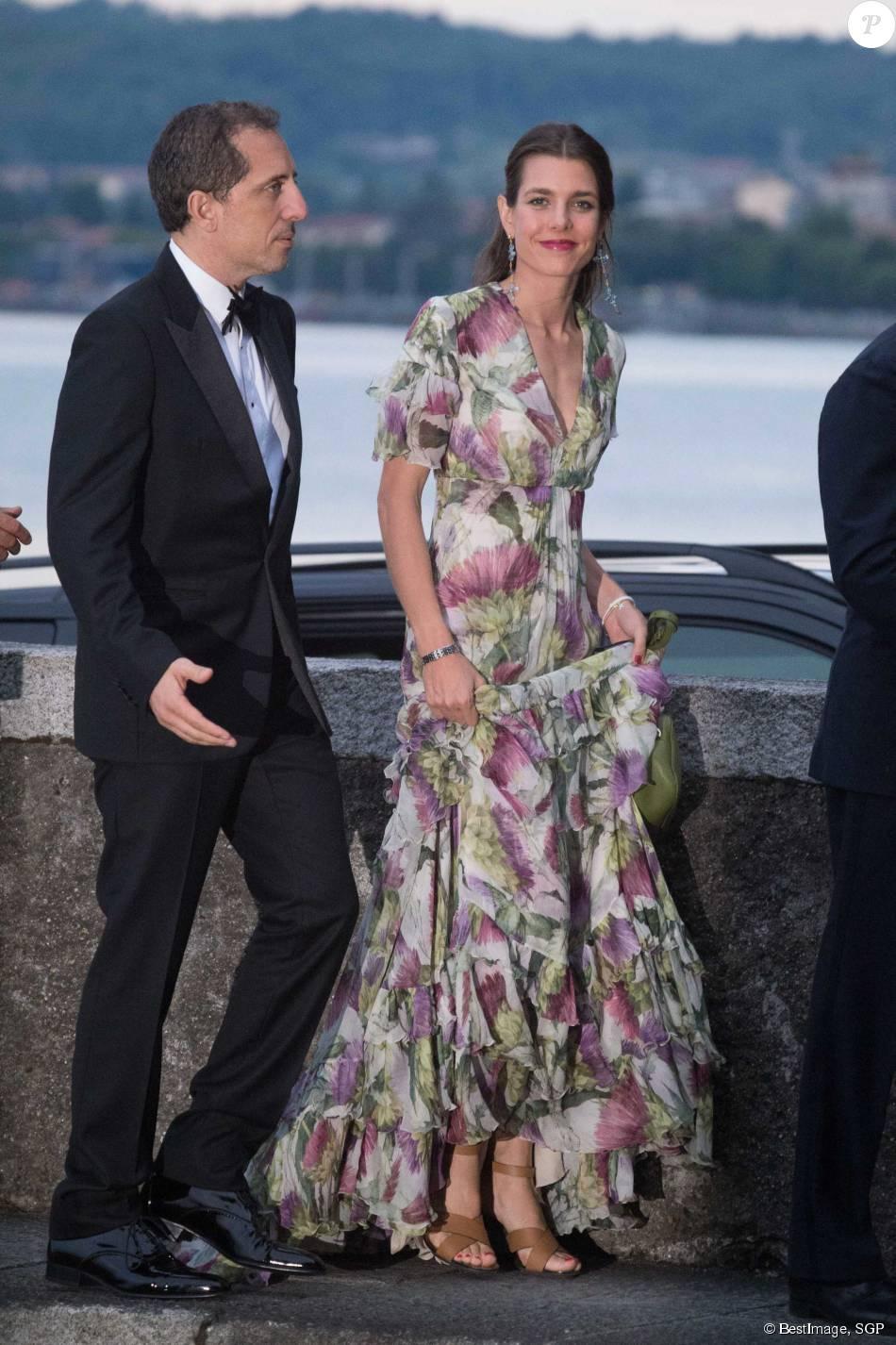 Charlotte Casiraghi et son compagnon Gad Elmaleh , Arrivées pour la soirée  de mariage de Pierre