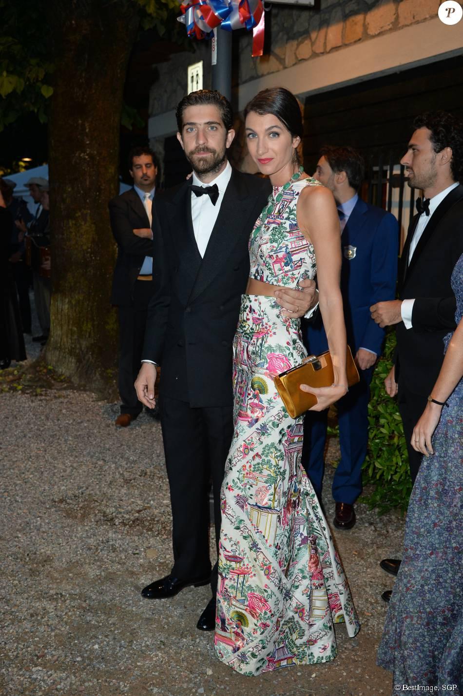 Carlo Borromeo et sa femme Marta Ferri - Arrivées pour la soirée de mariage de Pierre Casiraghi et Beatrice Borromeo au château Rocca Angera (château appartenant à la famille Borromeo) à Angera sur les Iles Borromées, sur le Lac Majeur, le 1er août 2015.