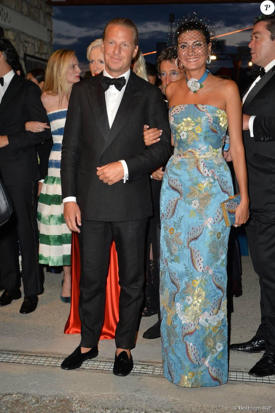 Engelbert Oscar et sa compagne Giovanna Battaglia - Arrivées pour la soirée de mariage de Pierre Casiraghi et Beatrice Borromeo au château Rocca Angera (château appartenant à la famille Borromeo) à Angera sur les Iles Borromées, sur le Lac Majeur, le 1er août 2015.