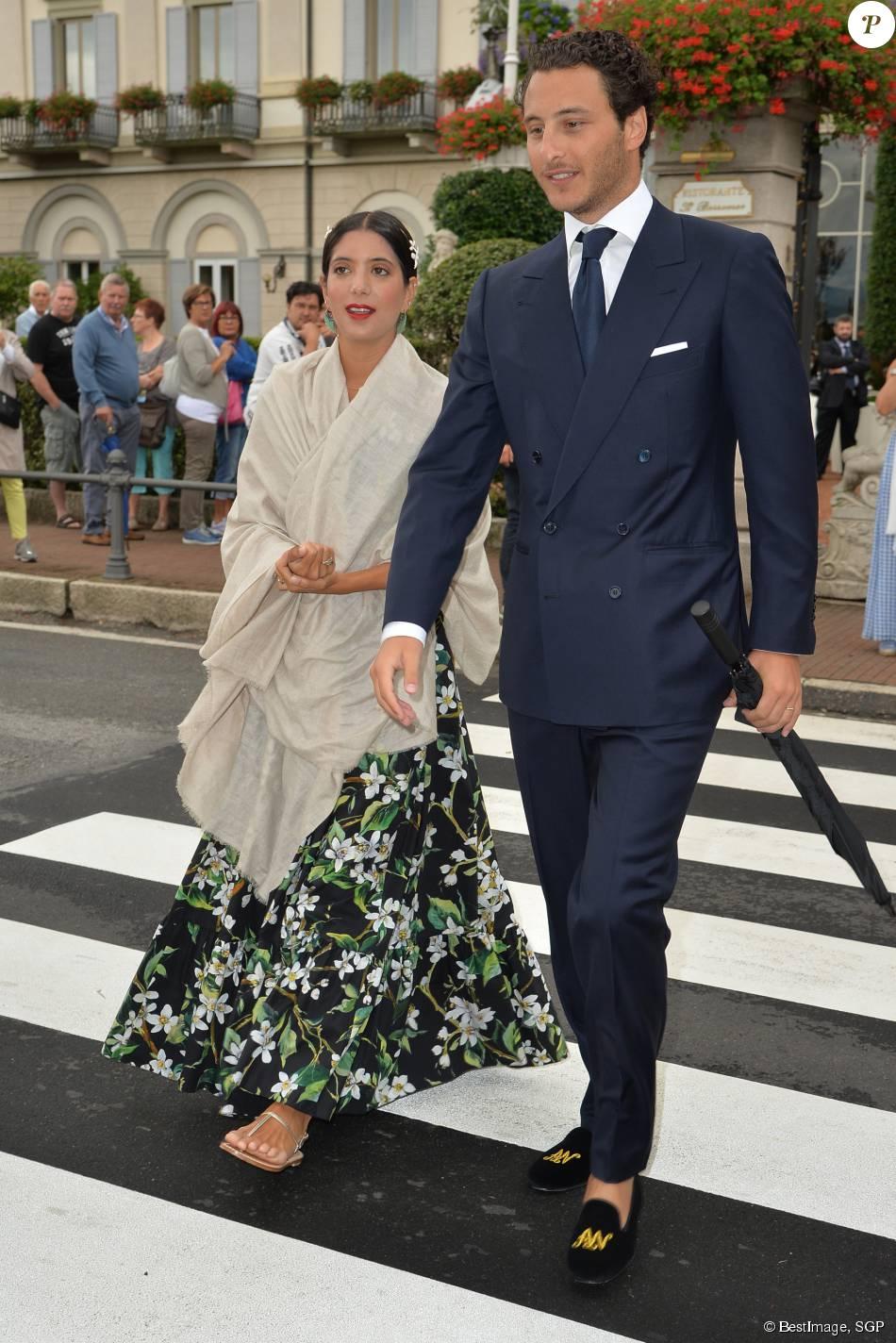 Noor Farès et son mari Alexandre Khawam - Sorties des invités de l'hôtel Borromeo à Stresa pour se rendre au mariage religieux de Pierre Casiraghi et Beatrice Borromeo sur les Iles Borromées, sur le Lac Majeur, le 1er août 2015.