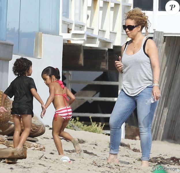 Mariah Carey passe la journée à la plage avec ses jumeaux Monroe et Moroccan à Malibu, le 2 aout 2015