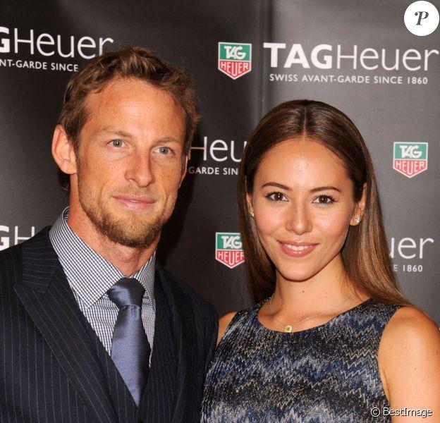 """Jenson Button et sa fiancée Jessica Michibata à bord du yacht """"Tag Heuer"""" à Monte Carlo à Monaco, le 25 mai 2013"""