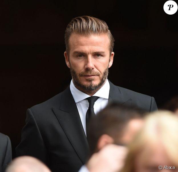 David Beckham à Bury aux obsèques de Neville Neville, le père des frères Phil et Gary, le 27 août 2015.