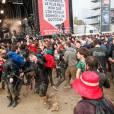 Concert dans la boue lors de La Fete de l'Humanite au parc Departemental Georges-Valbons a la Courneuve organise par le journal L'Humanite le 12 Septembre 2015. Photo par Maxime-Reynaud/Abaca-APSMedias.14/09/2015 - La Courneuve