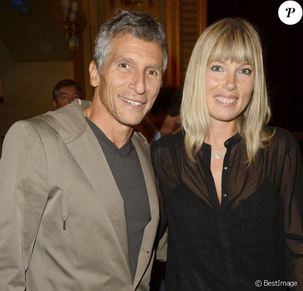 """Nagui et sa femme Mélanie Page - Générale de la pièce de théâtre """"Le Mensonge"""" au théâtre Edouard VII à Paris, le 14 septembre 2015."""