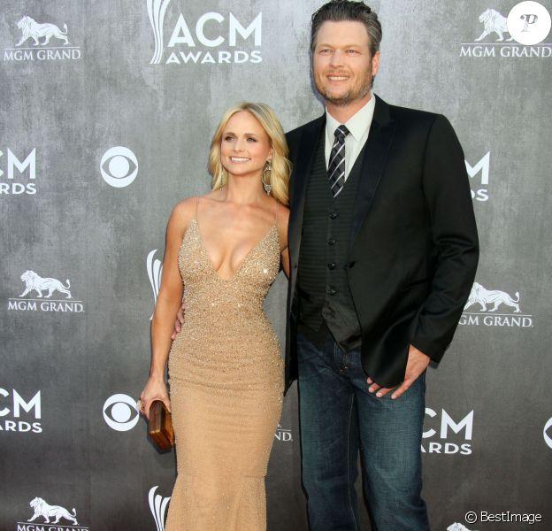 """Blake Shelton et sa femme Miranda Lambert - People à la cérémonie des """"Academy Of Country Music Awards"""" 2014 à Las Vegas, le 6 avril 2014."""