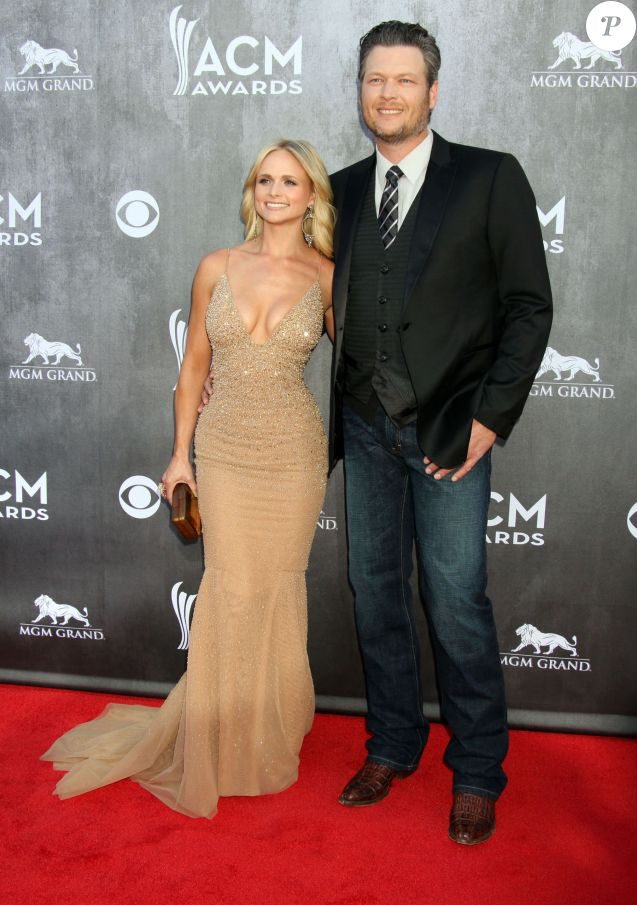 "Blake Shelton et sa femme Miranda Lambert - People à la cérémonie des ""Academy Of Country Music Awards"" 2014 à Las Vegas, le 6 avril 2014."