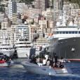 Le prince Albert II de Monaco au Monaco Yacht Show à bord du Yersin le 23 septembre 2015.